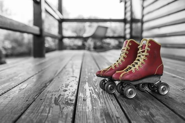 Shoes on a wooden bench